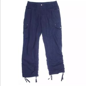 Brand new INC navy cargo pants with braid d waist